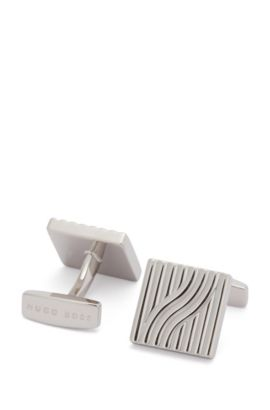 Square cufflinks with stamped 3D pattern, Silver