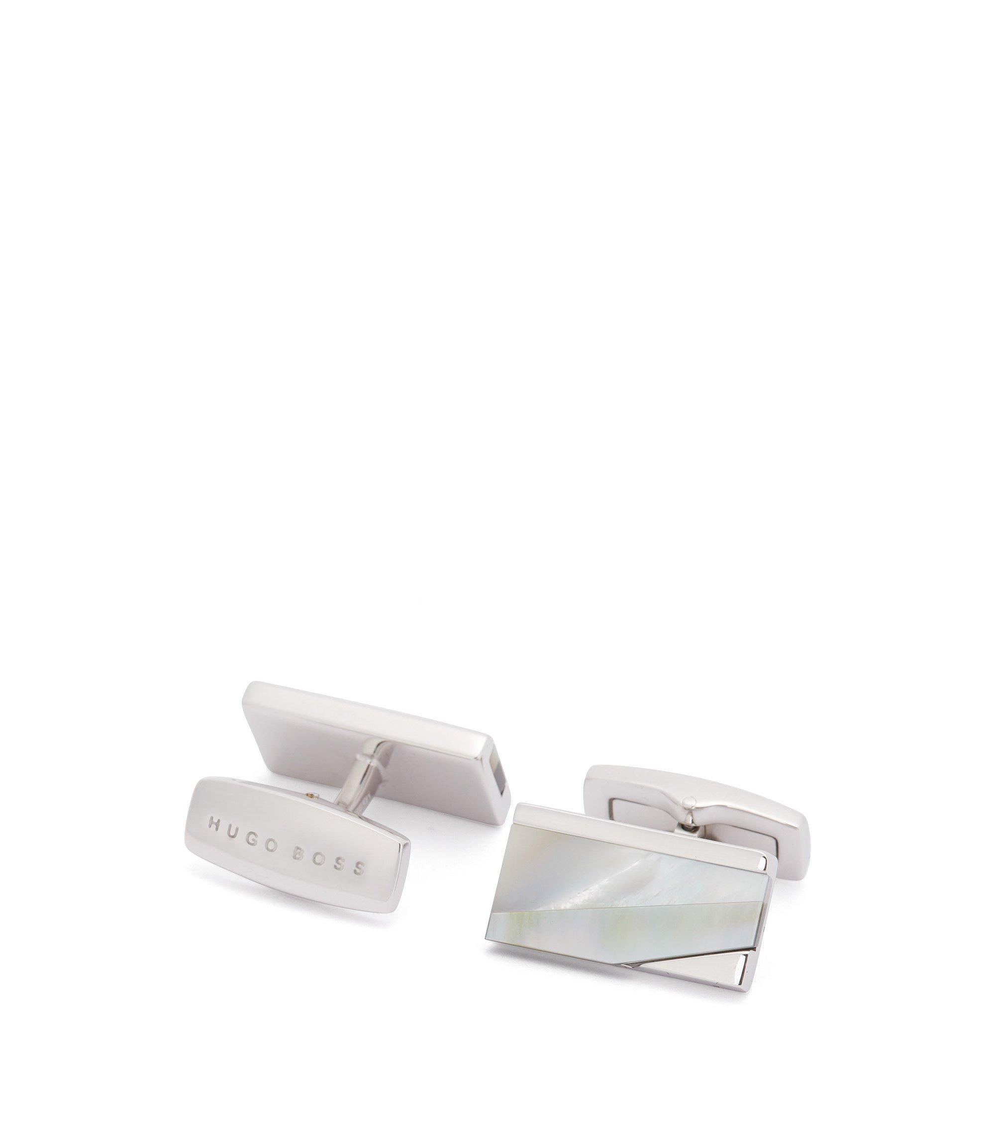 Rechthoekige manchetknopen met parelmoer , Lichtgrijs