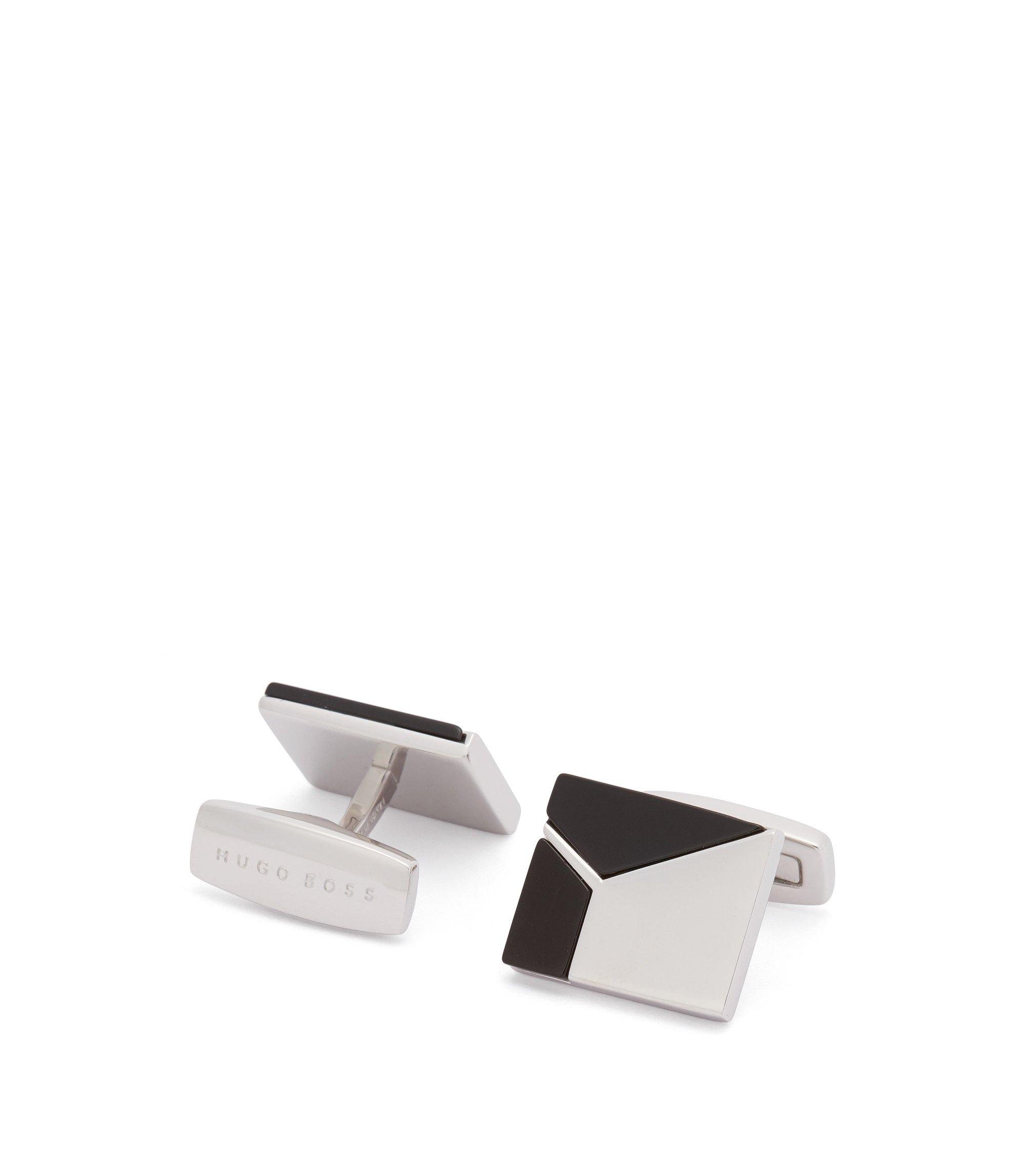 Square cufflinks with geometric onyx inserts , Black