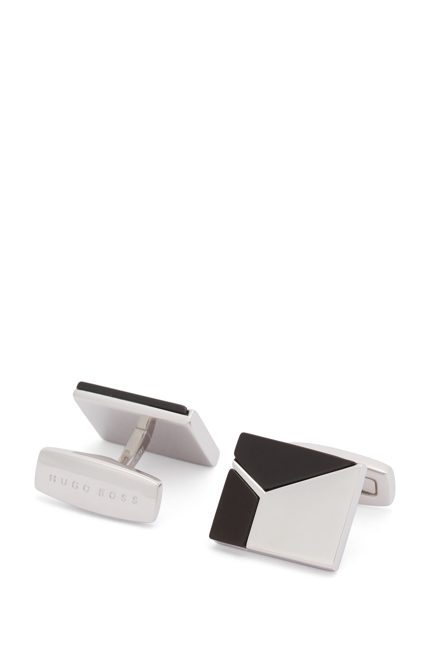 Square cufflinks with geometric onyx inserts