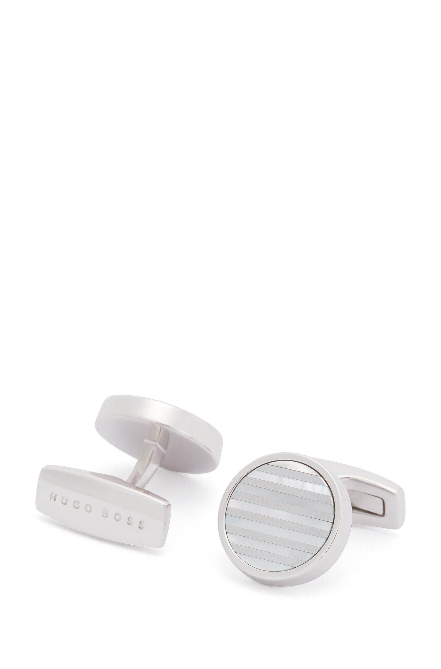 Round cufflinks with mother-of-pearl stripes
