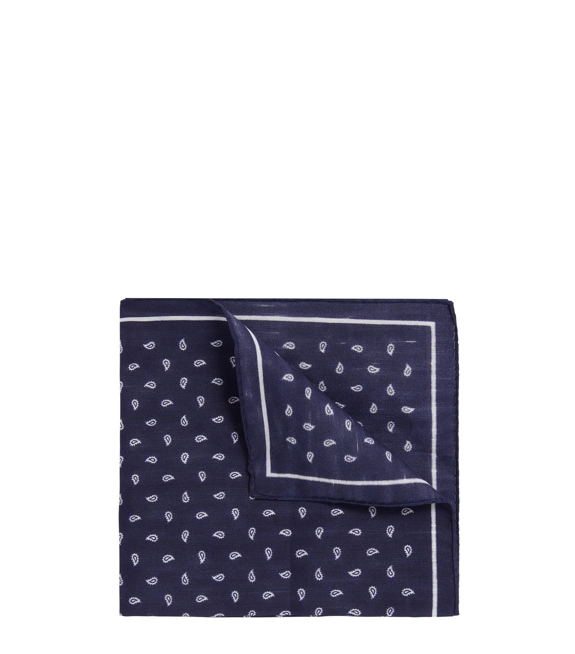 Pochet van linnen en katoen met paisleydessin, Donkerblauw