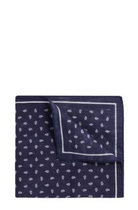 Paisley pocket square in linen and cotton, Dark Blue