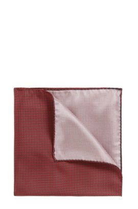 Micro-pattern pocket square in pure silk, Red
