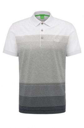 Regular-fit polo shirt in mercerised cotton, Light Grey