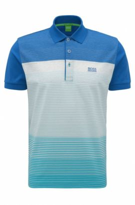Regular-fit polo shirt in mercerised cotton, Blue