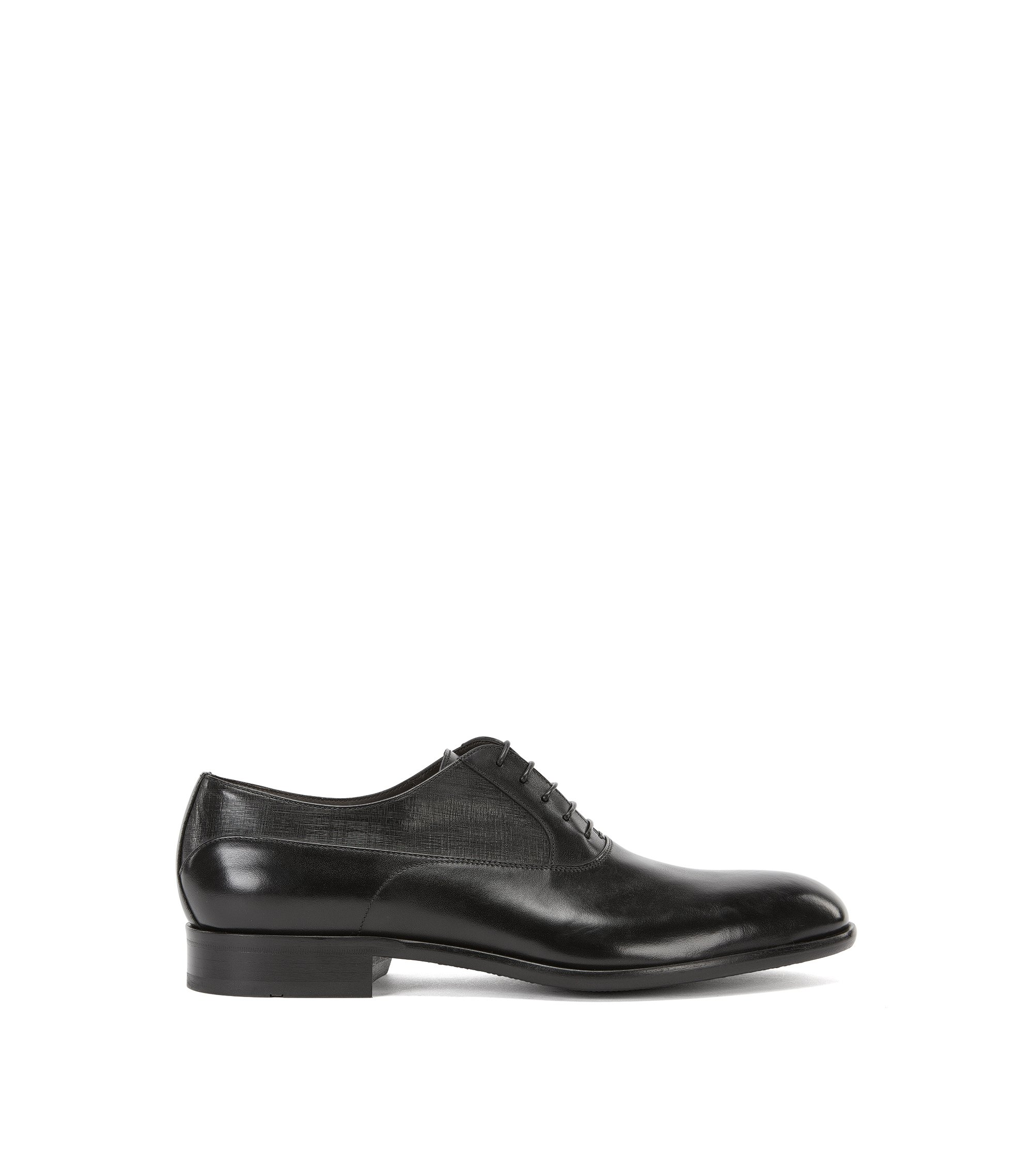 Chaussures Oxford à quartiers en cuir imprimé , Noir