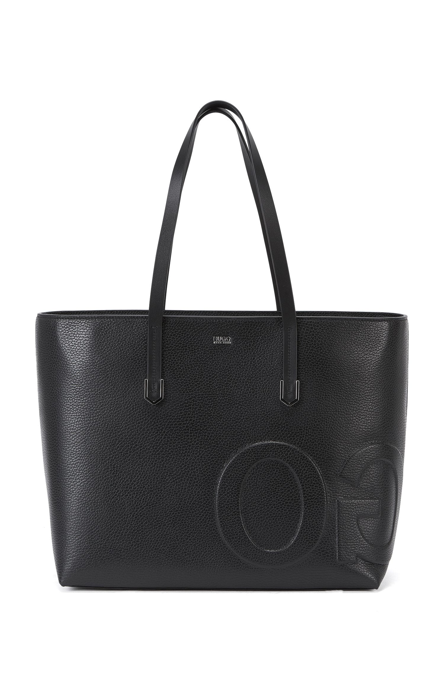 Leather tote bag with mirrored logo detail
