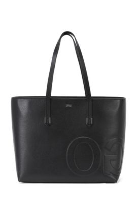 Leather tote bag with mirrored logo detail, Black