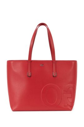 Leather tote bag with mirrored logo detail, Red