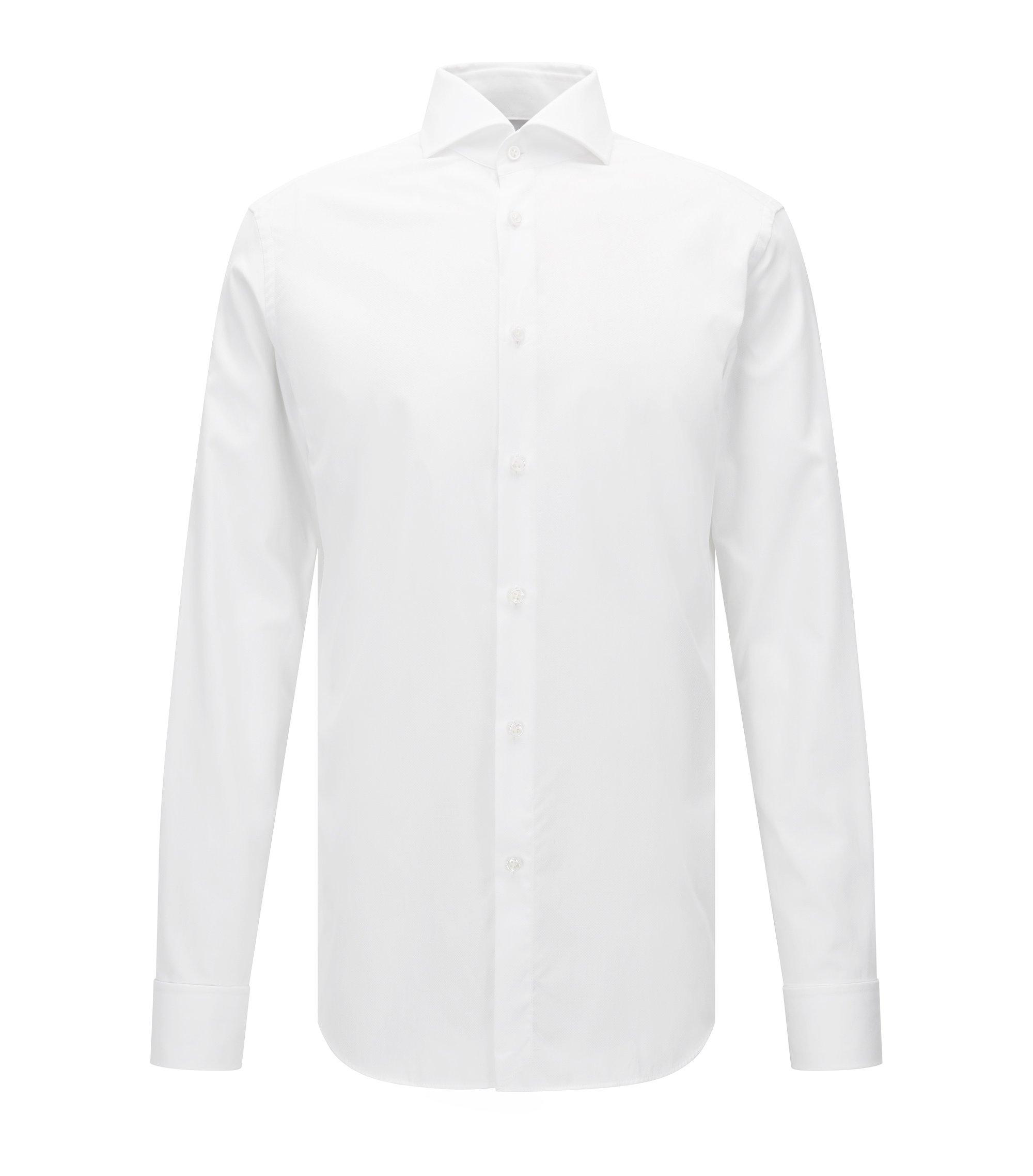 Slim-fit overhemd van katoen met dubbele manchetten en microdessin , Wit