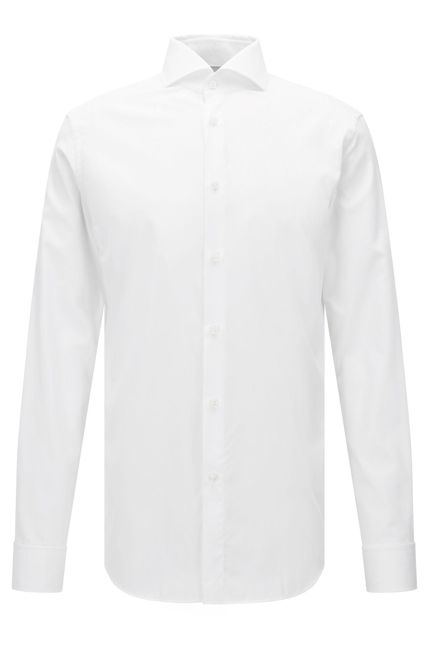 Chemise en coton Slim Fit à micro motif, à poignets mousquetaires