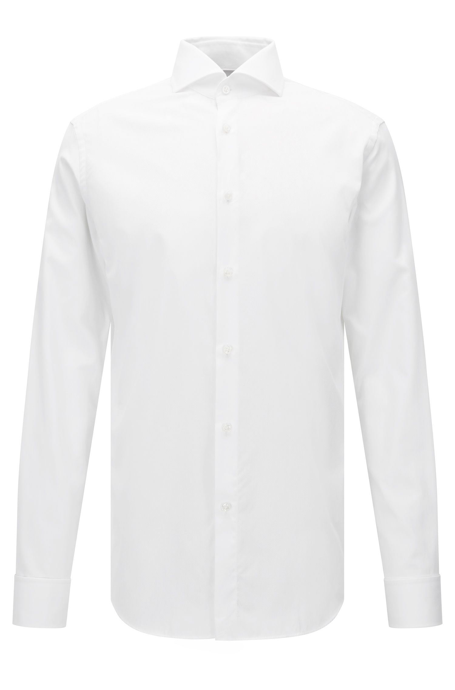 Slim-fit micro pattern cotton shirt with double cuffs