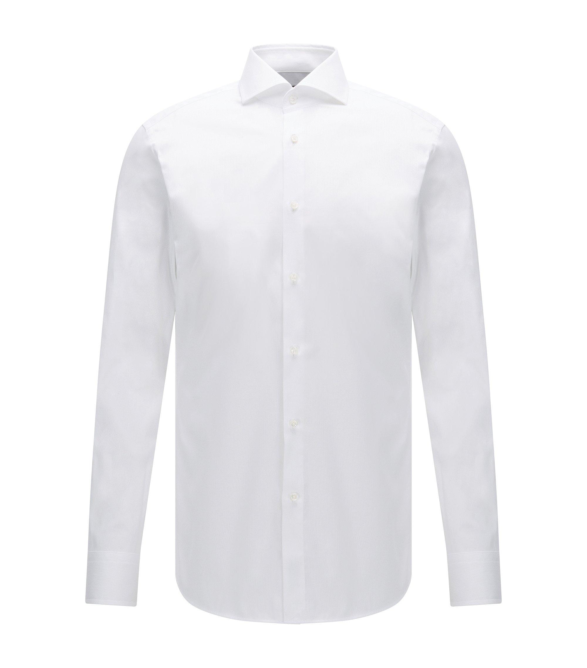 Camisa slim fit de algodón con microrrayas, Blanco