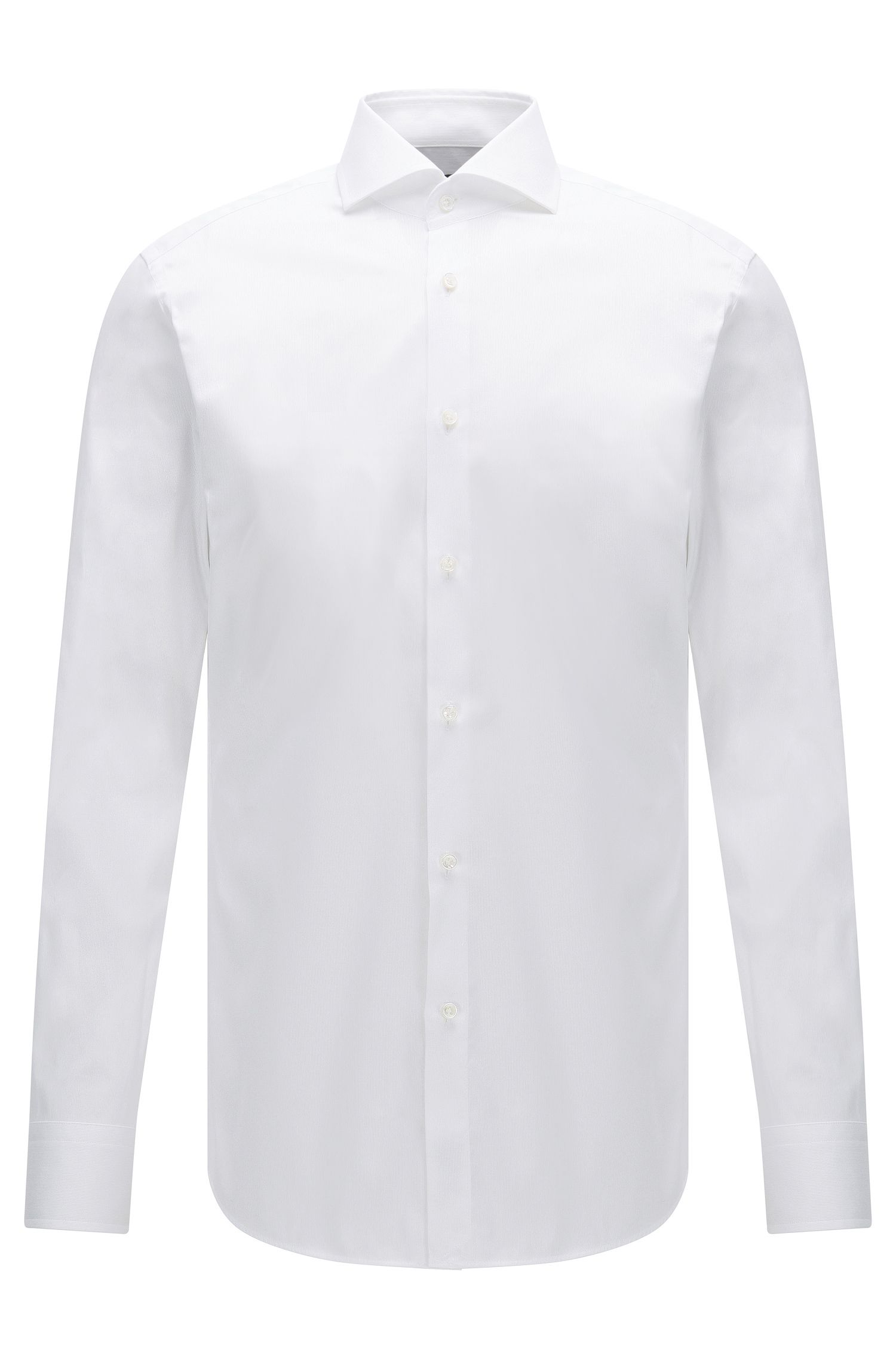 Slim-fit cotton shirt with micro stripes