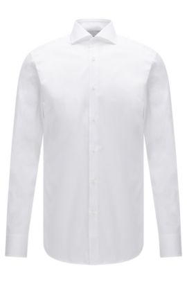 Slim-fit cotton shirt with micro stripes, Open White