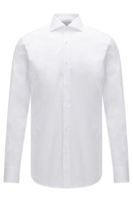 Slim-Fit Hemd aus Baumwolle mit feiner Streifenstruktur, Weiß
