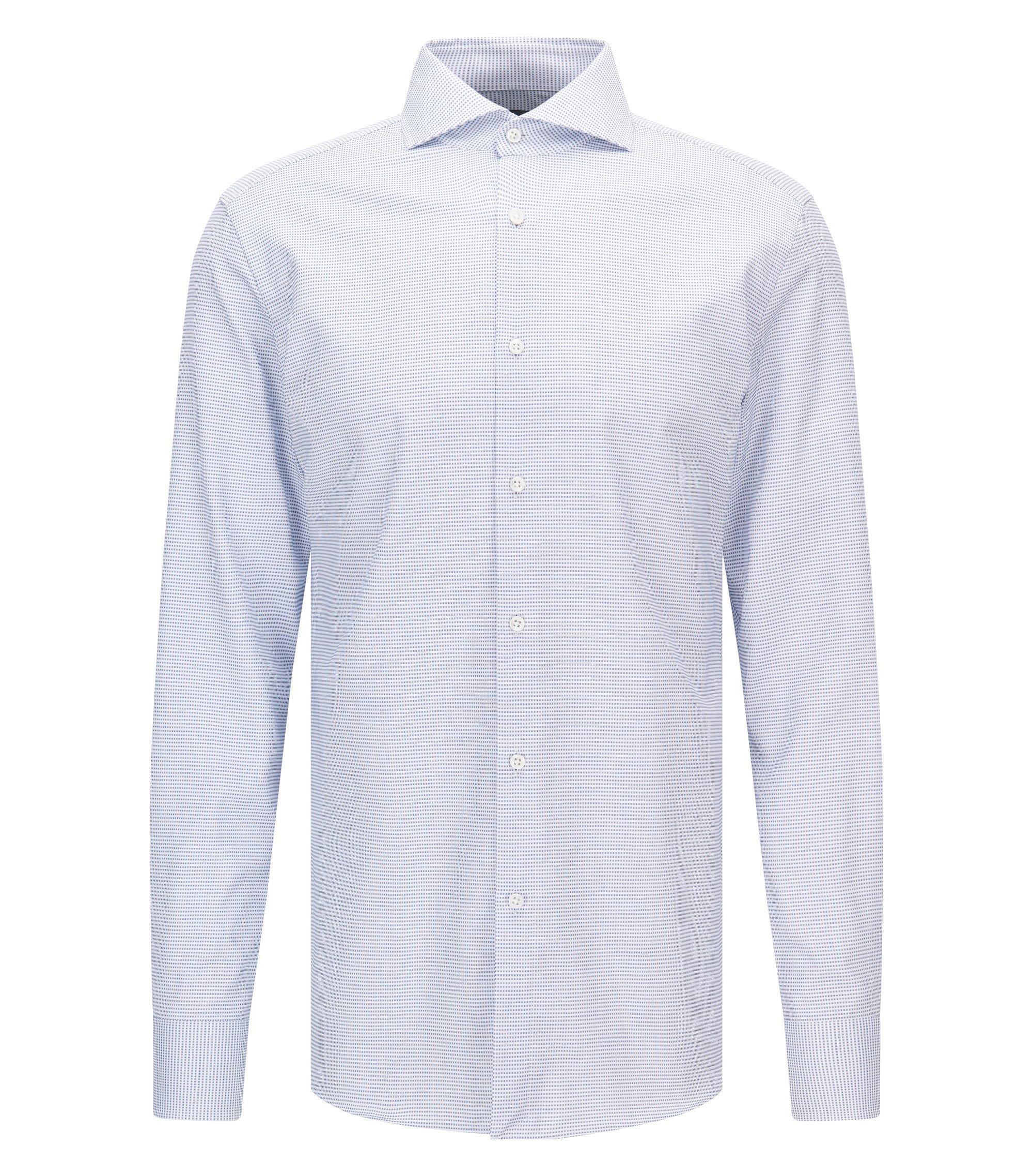 Chemise en coton Slim Fit à micro-motif, avec boutons en nacre, Bleu