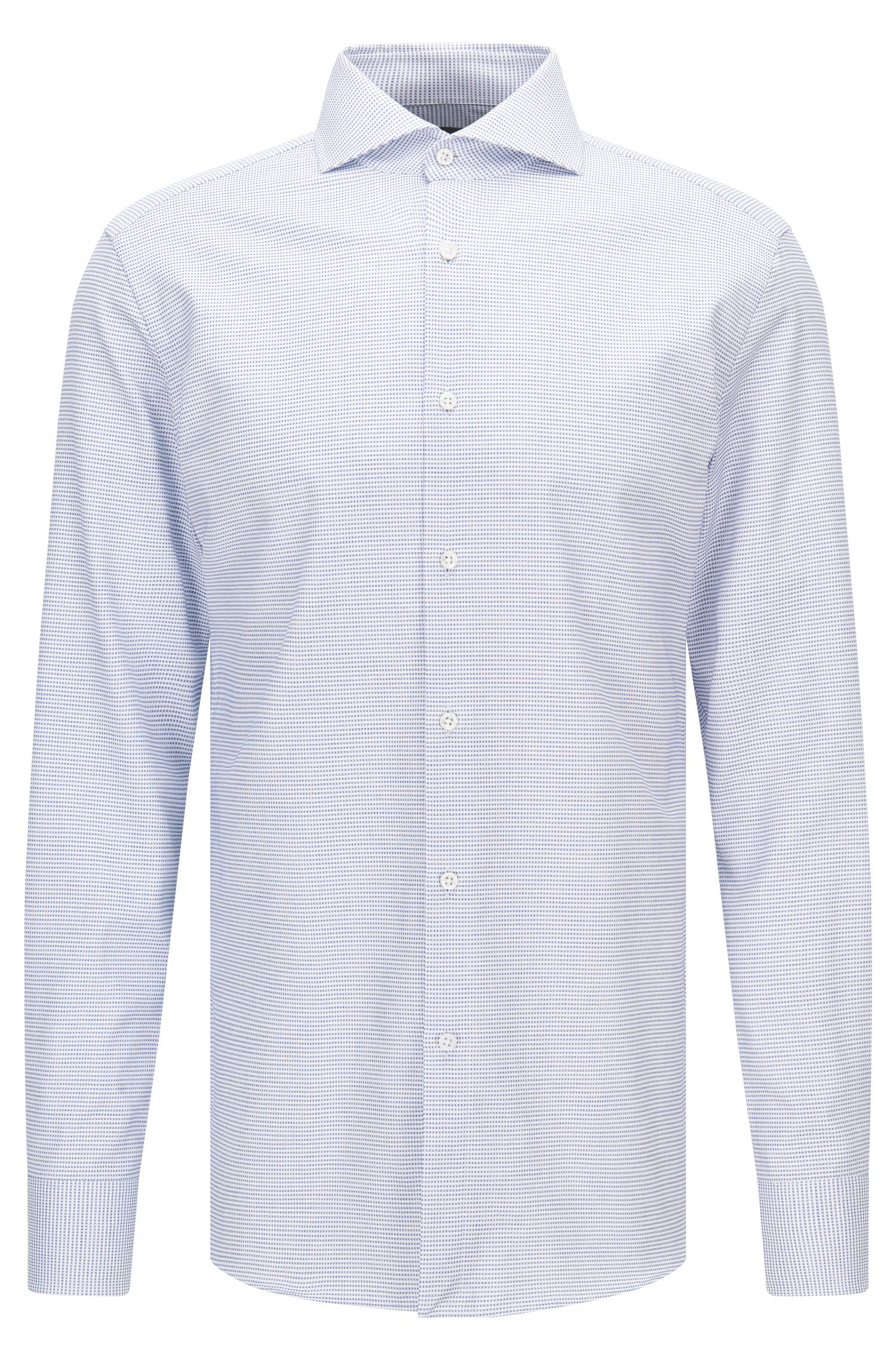 Slim-fit micro-pattern cotton shirt with mother-of-pearl buttons