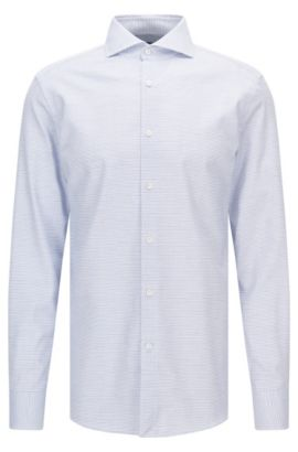 Slim-fit micro-pattern cotton shirt with mother-of-pearl buttons, Blue