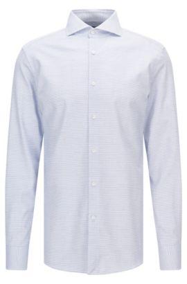 Camisa de algodón slim fit con microestampado y botones de nácar, Azul