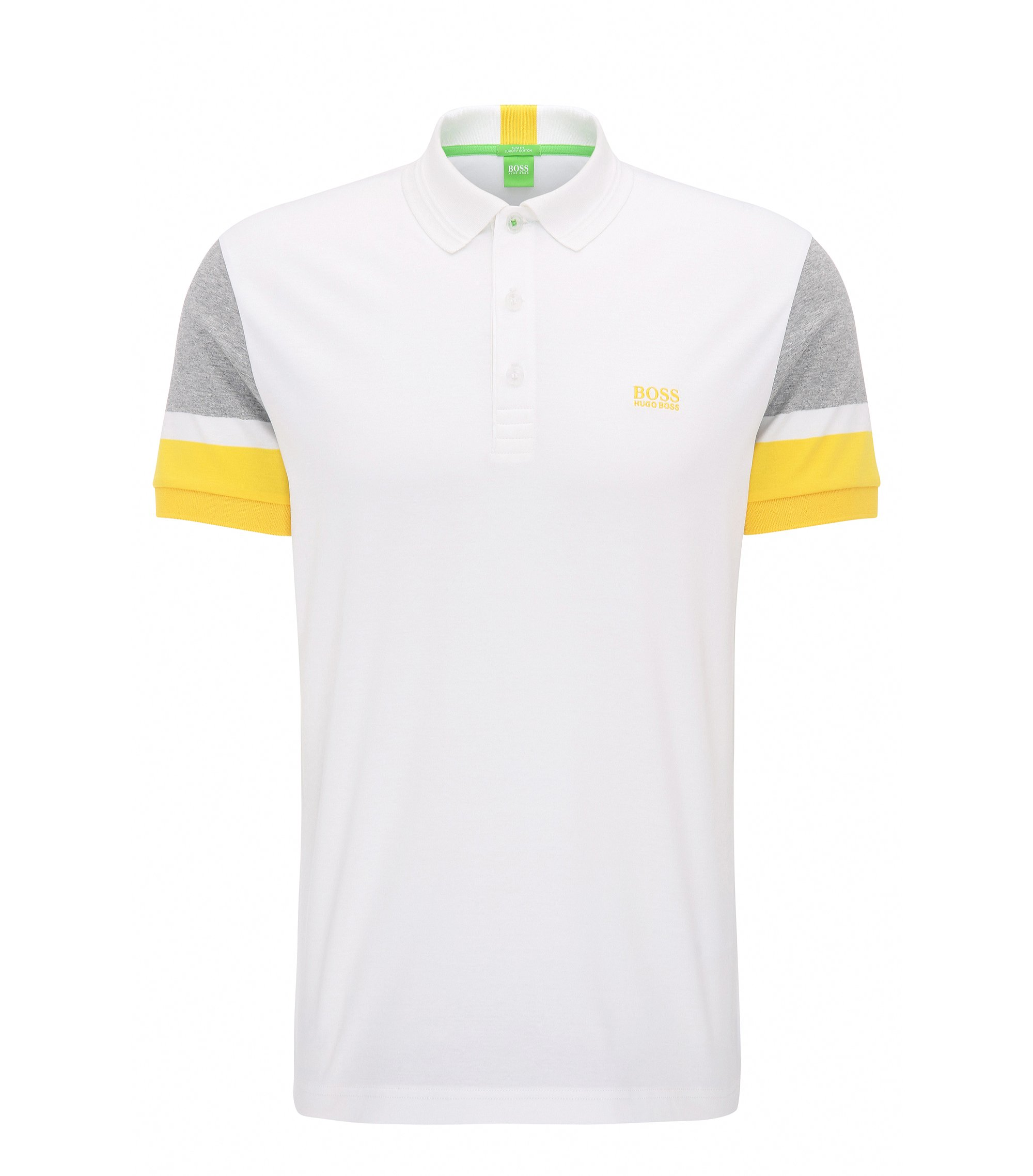 Slim-fit cotton polo shirt with colourblocking, White