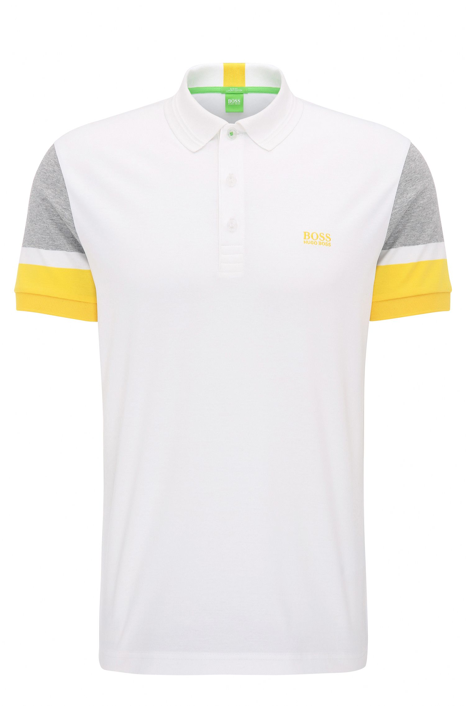 Slim-fit cotton polo shirt with colourblocking