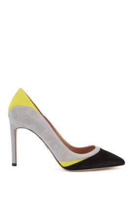 Pumps aus Veloursleder mit Colour Blocking, Gelb
