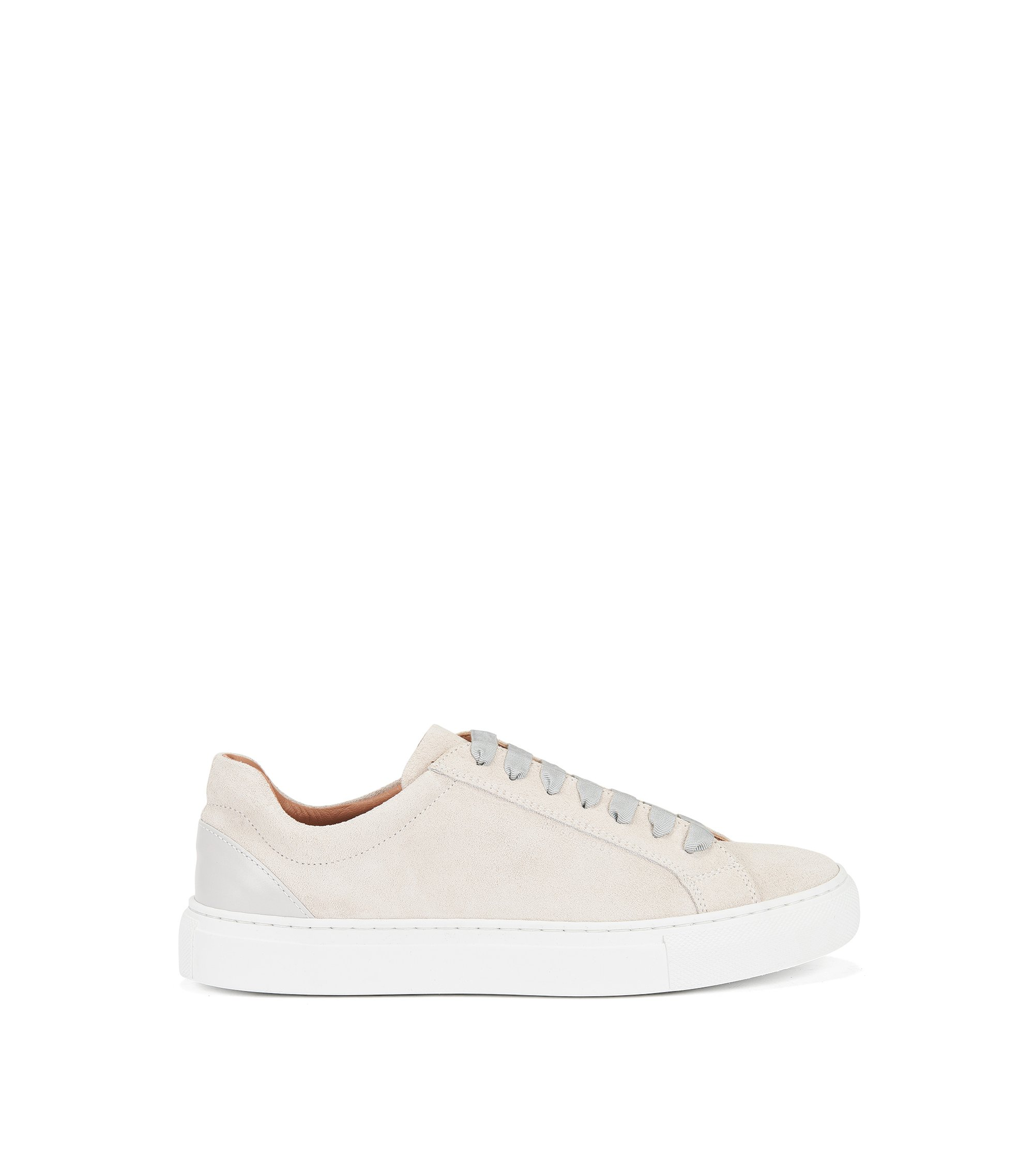 Lace-up trainers in Italian leather, Light Grey