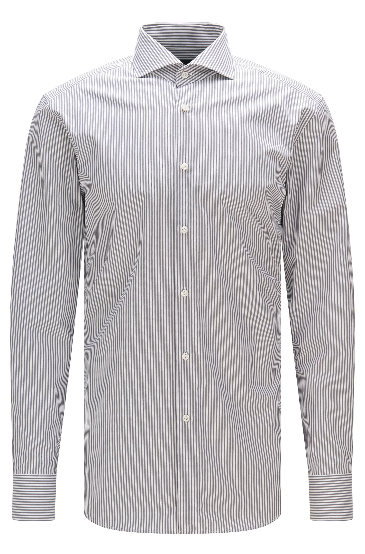 Slim-fit cotton twill shirt with pinstripe pattern
