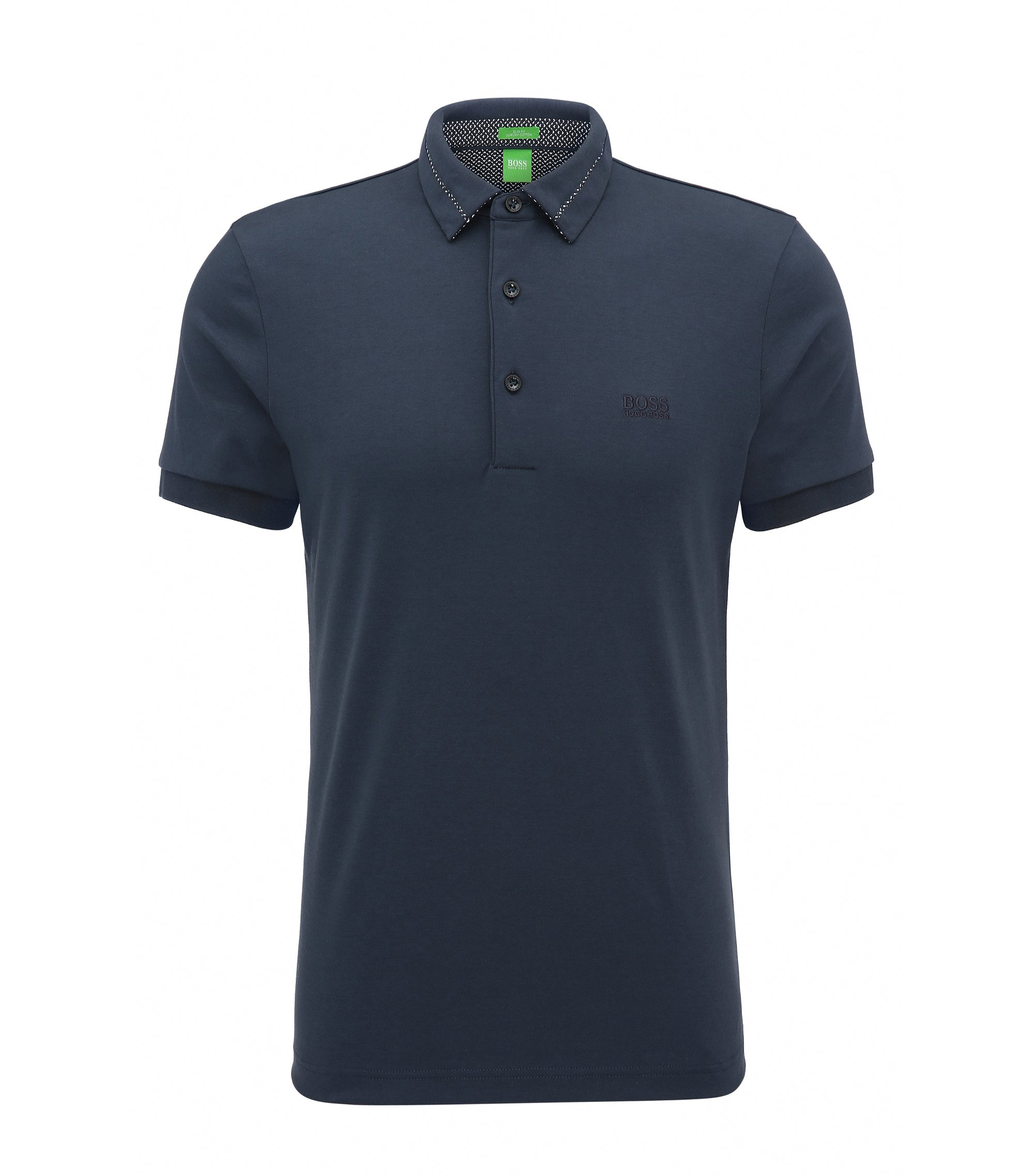 Slim-Fit Poloshirt aus Interlock-Piqué, Dunkelblau