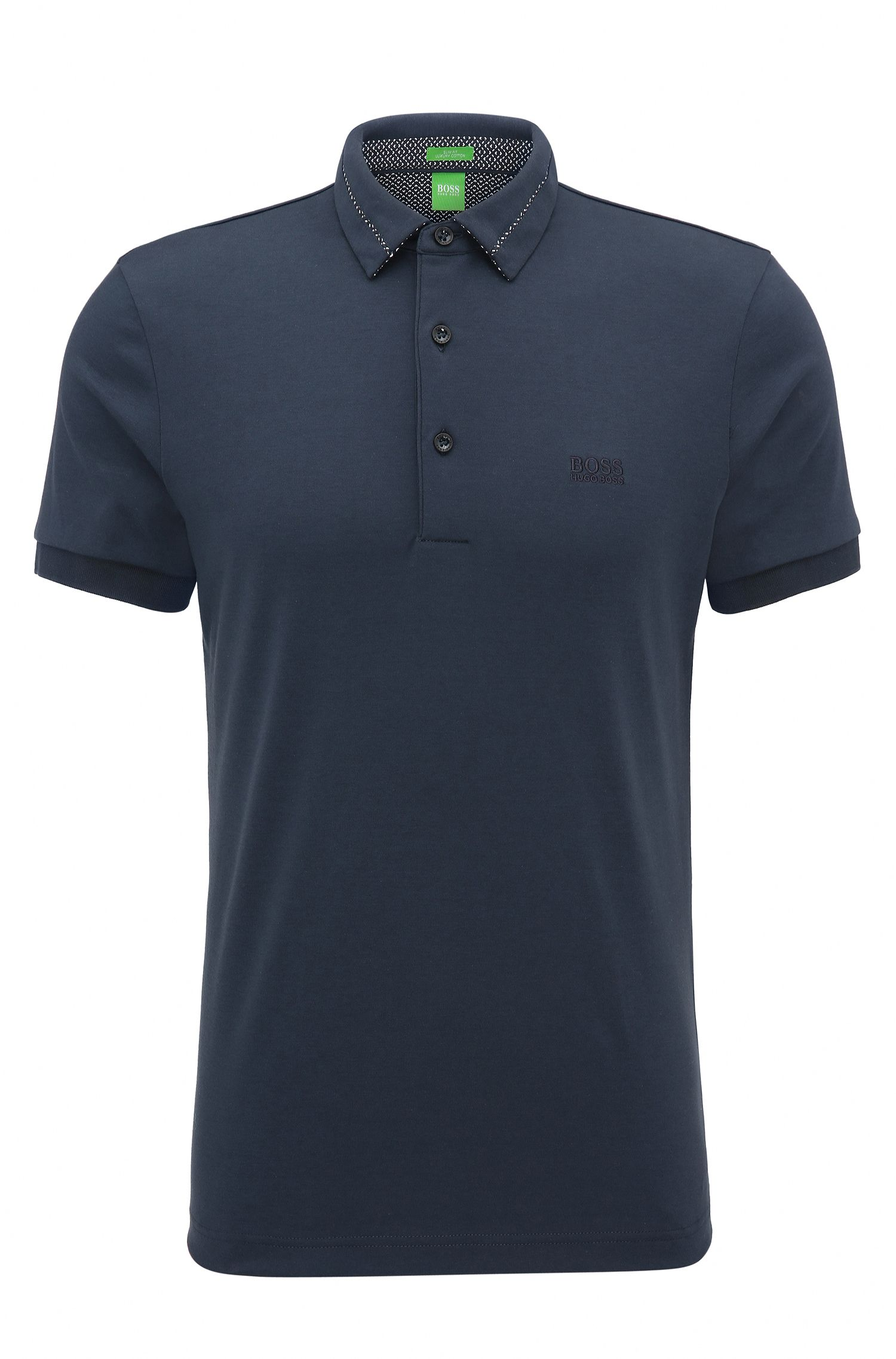 Slim-fit poloshirt van katoen in interlock-piqué