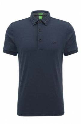 Polo slim fit in piqué intrecciato, Blu scuro