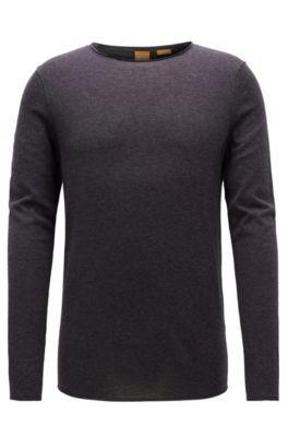 Slim-fit sweater in ultra-lightweight cotton, Dark Grey