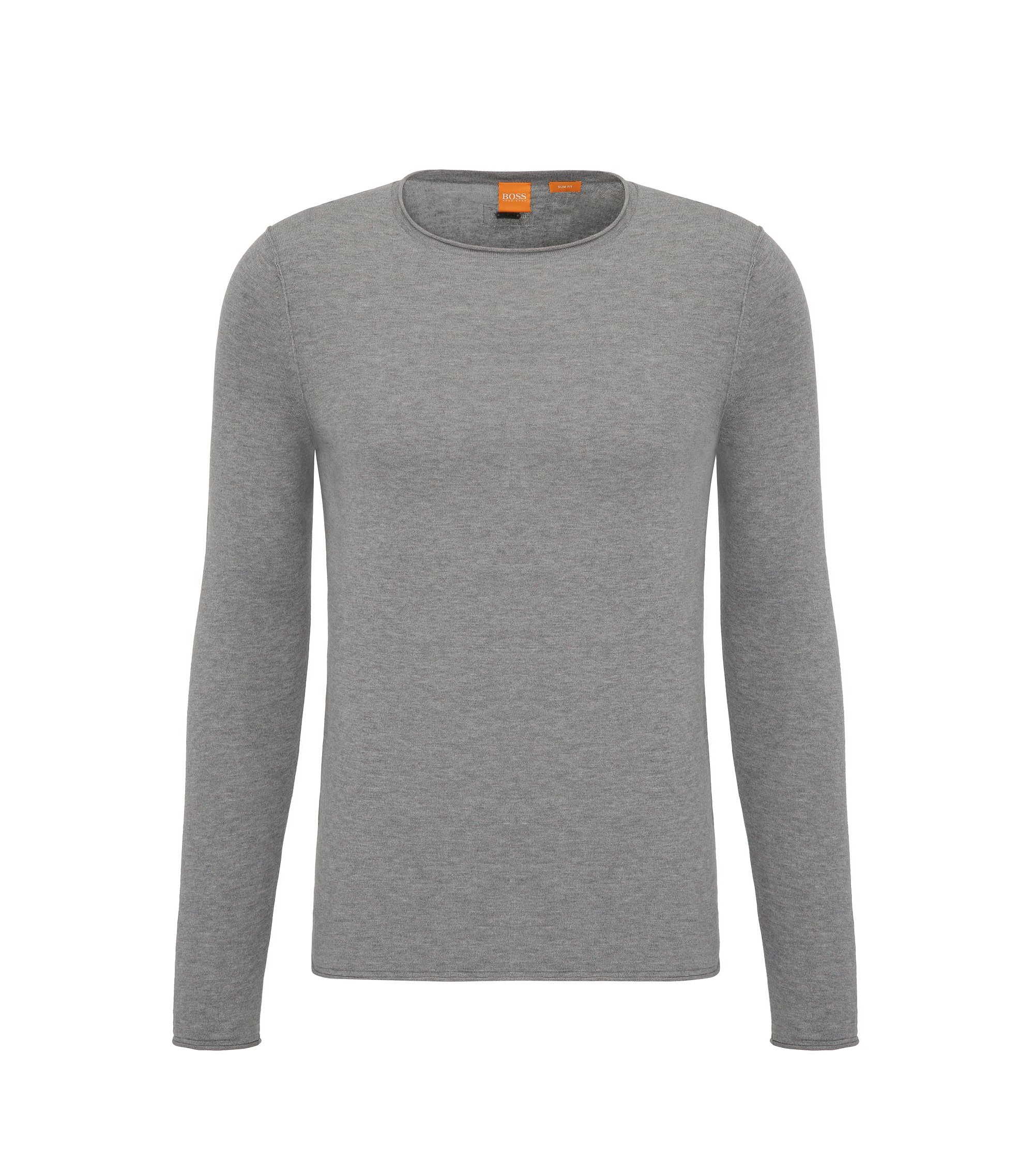 Slim-fit sweater in ultra-lightweight cotton, Light Grey