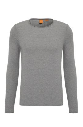 Slim-fit sweater in cashmere-effect cotton, Light Grey