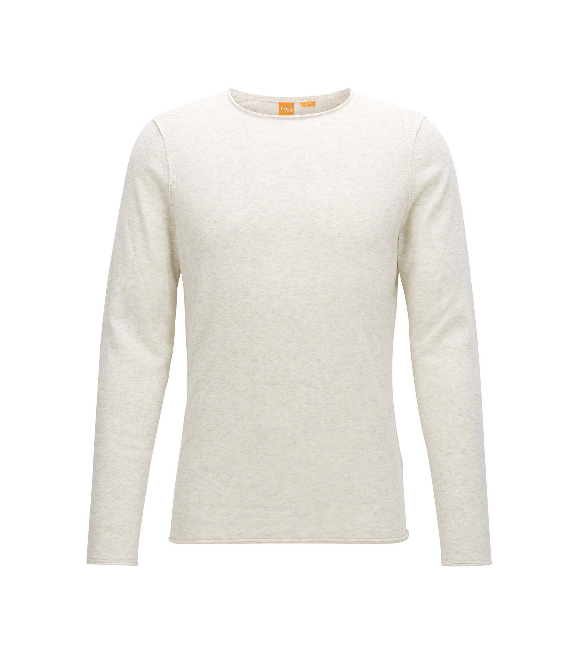 Pull Slim Fit en coton ultraléger, Blanc