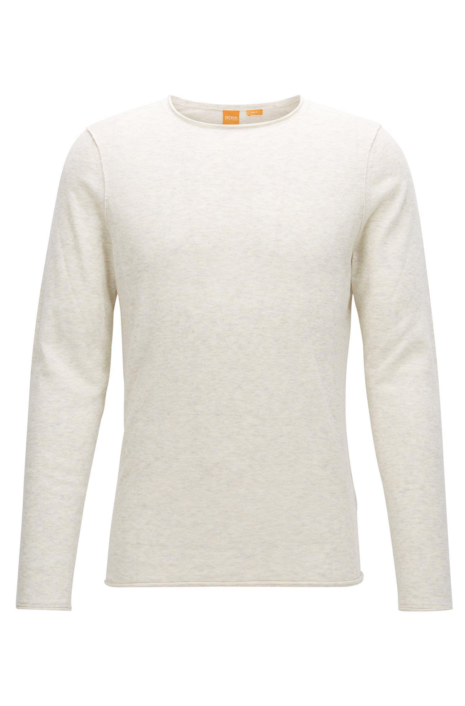 Maglione slim fit in cotone effetto cashmere
