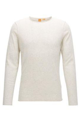 Slim-fit sweater van katoen met kasjmiereffect, Wit