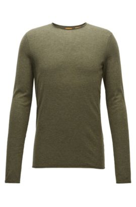 Maglione slim fit in cotone effetto cashmere, Verde scuro