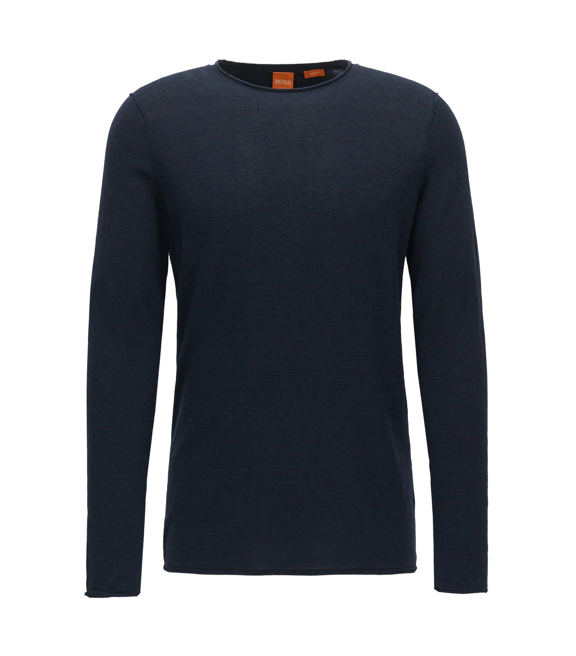 Slim-fit trui van ultralichte katoen, Donkerblauw