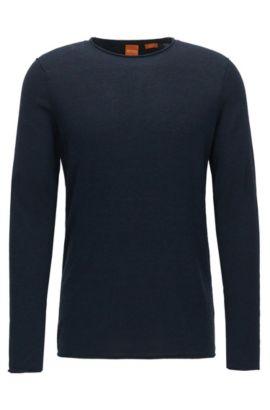 Slim-Fit Pullover aus Baumwolle mit Kaschmir-Effekt, Dunkelblau
