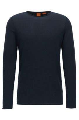 Slim-fit sweater in cashmere-effect cotton, Dark Blue
