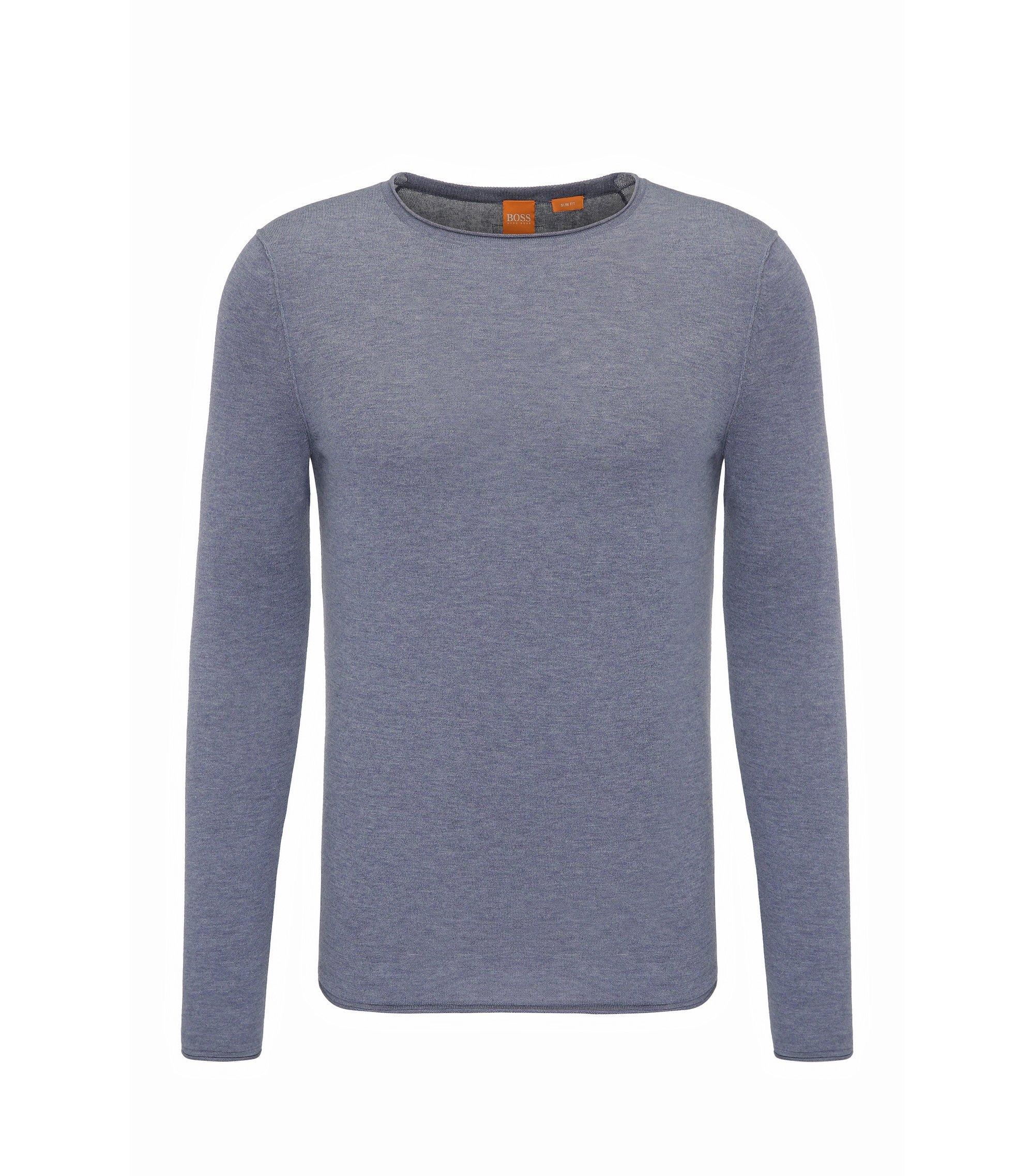 Maglione slim fit in cotone ultraleggero, Blu scuro