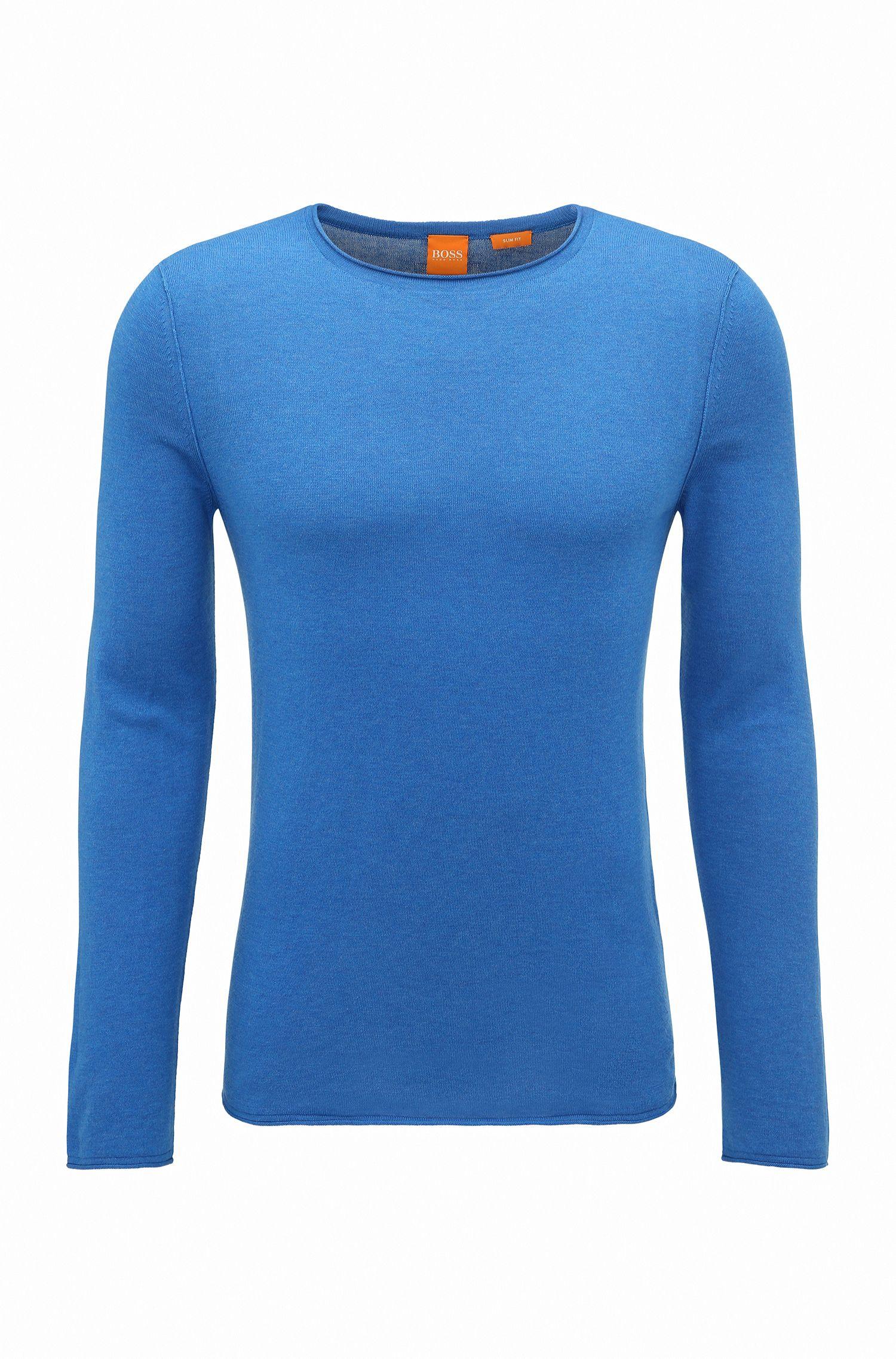 Slim-fit sweater van katoen met kasjmiereffect