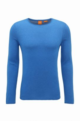 Slim-fit sweater in cashmere-effect cotton, Dark Blue