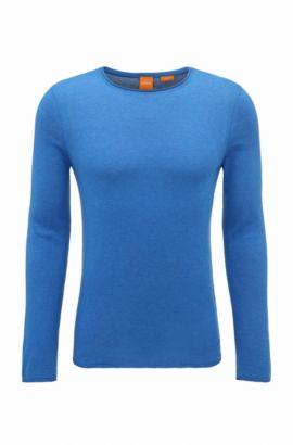 Slim-fit sweater van katoen met kasjmiereffect, Donkerblauw
