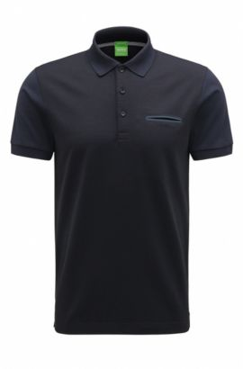 Regular-fit polo shirt with mercerised cotton, Dark Blue