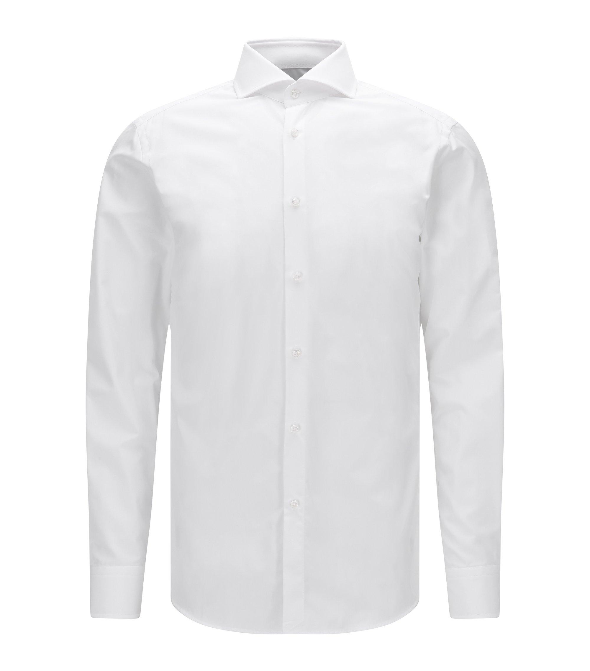 Chemise Slim Fit en coton double retors, à boutons en nacre, Blanc