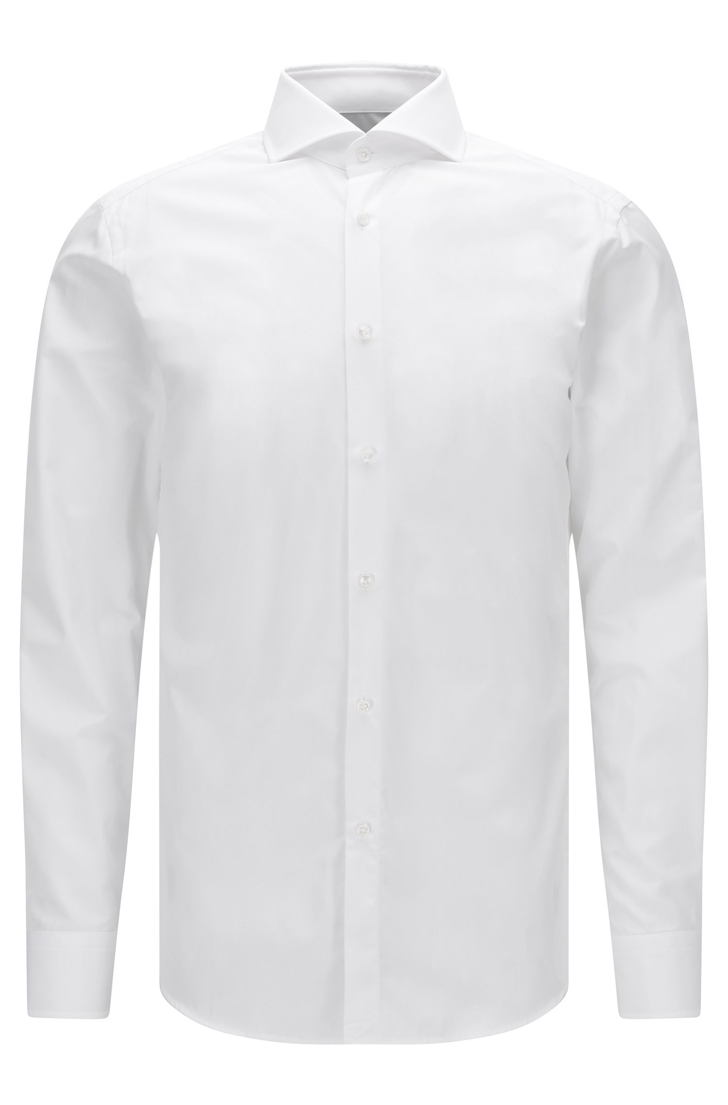 Slim-fit shirt in two-ply cotton with mother-of-pearl buttons